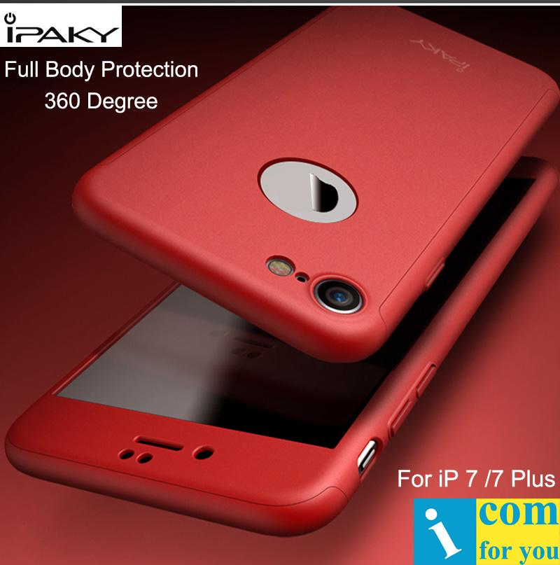 reputable site b5061 0fe48 Ipaky Full Body Cover Case For Iphone 7 360 Degree Hard Pc Protective Shell  For Iphone 7 Plus Tempered Glass