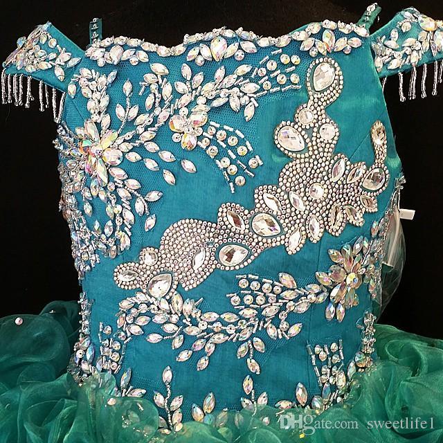 Short Mini Organza Flower Girls' Dresses Fuchsia Custom Made Little Girls' Party Graduation Birthday Wear Bling Bling Beads and Crystals