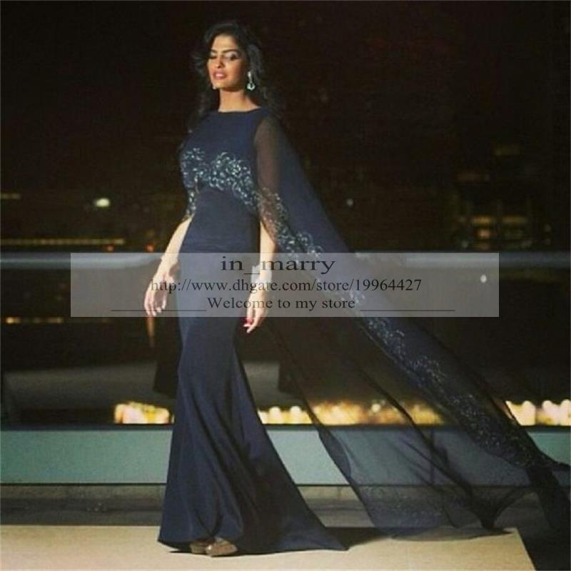 Navy Blue Arabic Muslim Dubai Evening Dresses With Wrap 2016 Mermaid ...