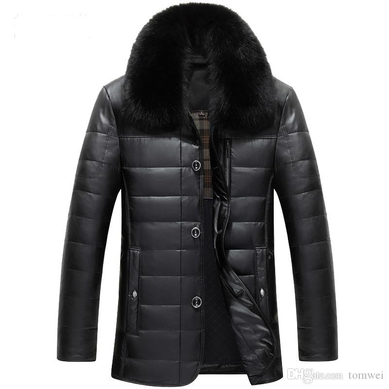 Leather Down Jacket Mens Duck Down Parkas Winter Coats Real Fur Collar Snow Clothes Waterproof Windbreaker Warm Outwear High Quality