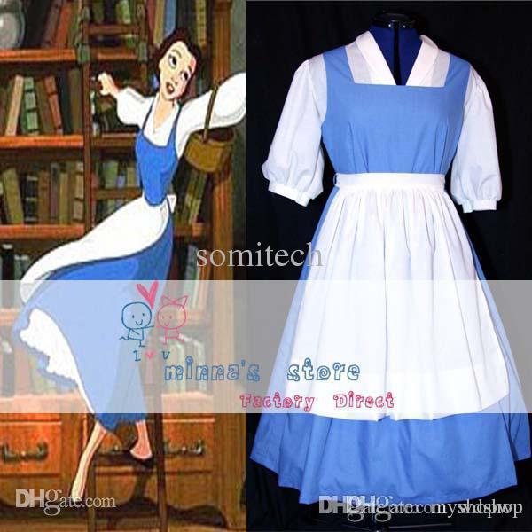 Wholesale Custom Made Princess Belle Blue Dress Costume Cosplay ...