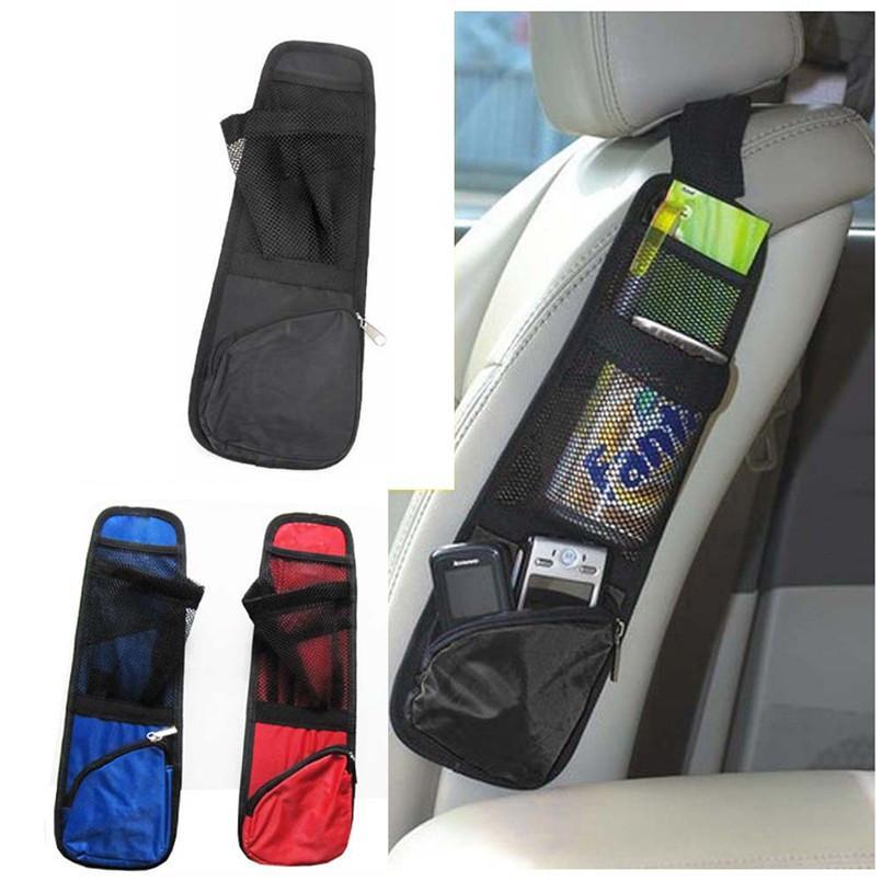 Black Nylon Auto Car Seat Chair Side Bag Hanging Organizer Storage ...