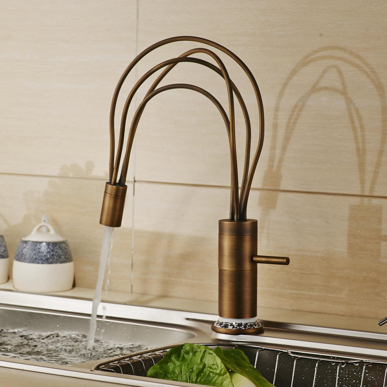 Best Antique Brass Deck Mounted Flexible Spout Kitchen Sink Faucet ...