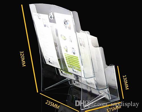 Transparente A6 Seis bolsillos Folleto Literatura Plástico Acrílico Soporte de exhibición Soporte para insertar folleto en el escritorio Envío gratis