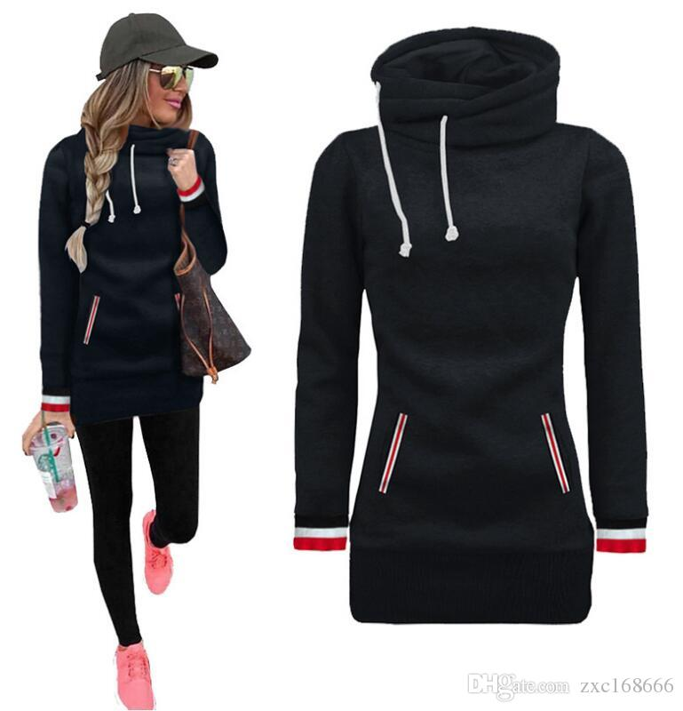 2017 Autumn winter Women striation Hoodies pullover Latest patchwork Popular color Warm Fleece Female Hooded Sweatshirts sportswear tops