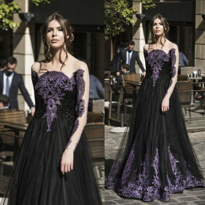 Unique Gothic Black Spring Prom Dresses Sale Long Sleeves Purple Crystal Beads A Line Tulle Long Formal Evening Party Dress for Ladies