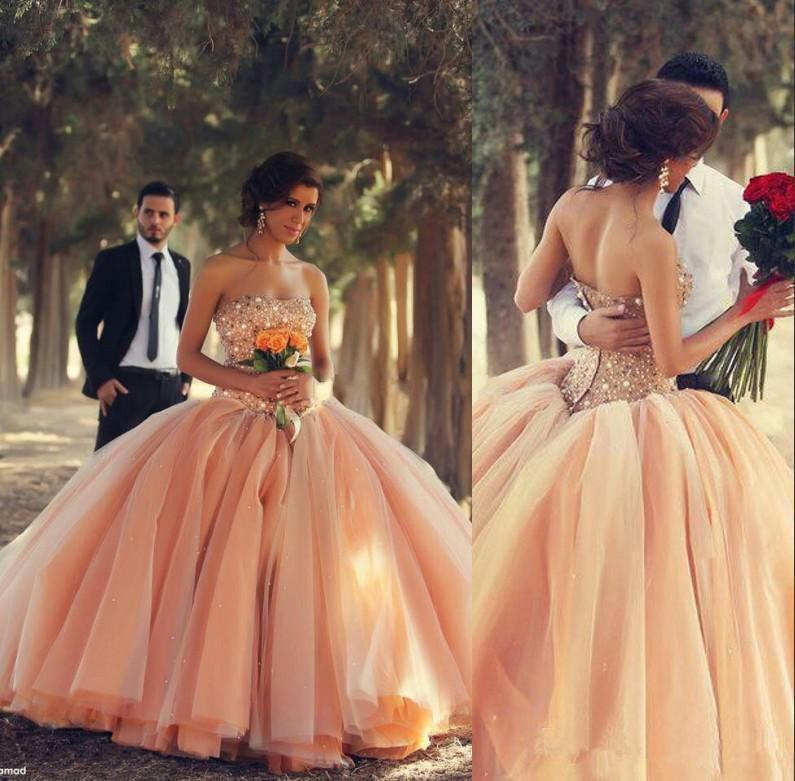 Gorgeous Peach Quinceanera Dresses With Beads Pearls Crystal Layered ...
