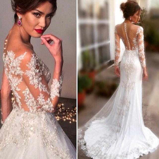 Discount 2015 Fashion A Line Wedding Dresses With Covered Button ...
