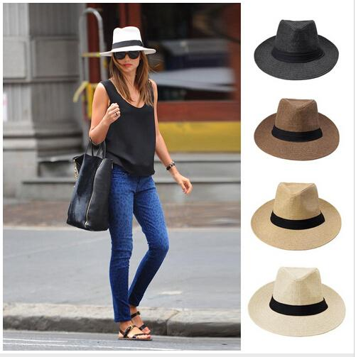 2015 Fashion Men Women Summer Sun Hat Panama Sun Straw Hat Contrast Color  Ribbon Pinched Crown Rolled Trim Beach Hats Hats In The Belfry Knit Hats  From ... b195455f627