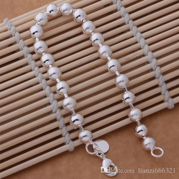 Livraison gratuite avec numéro de suivi Top Vente Bracelet en argent 925 Sable Avec perle de lumière flash Bracelet Bijoux en argent / pas cher 1585