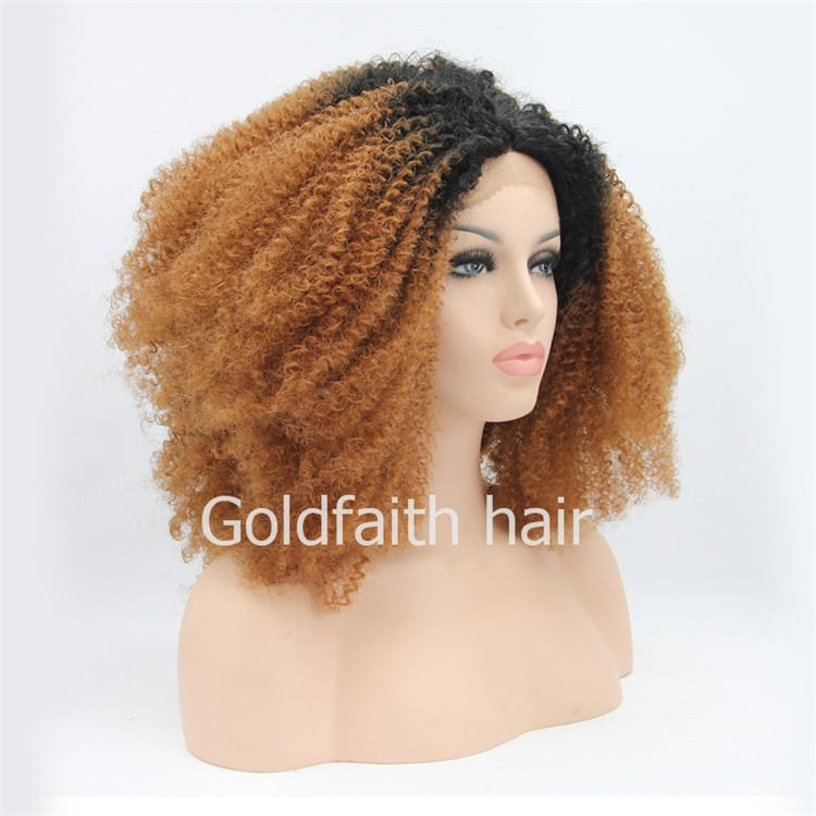 SF1 Cheap Ombre Auburn Afro Curly Heat Resistant Wig Curly Lace Front Synthetic Wig For Black Women