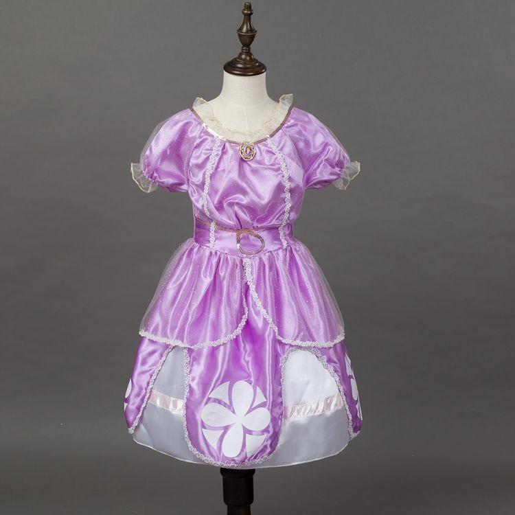 14a21c699bb7 Cartoon Baby Girl Dress Sofia Princess Purple Fluffy Dress Big ...