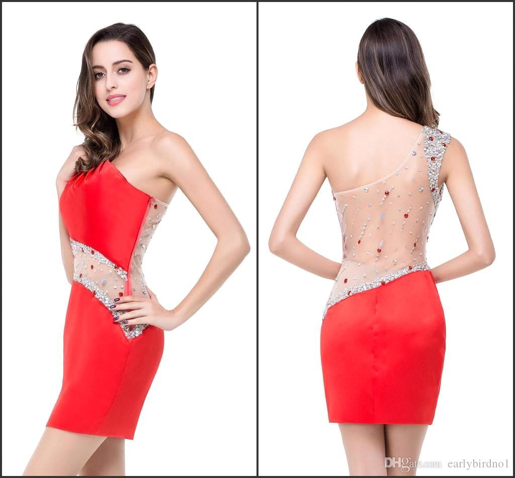Sheath Red Short Cocktail Dresses 2016 Sexy Illusion Back With Beads ...