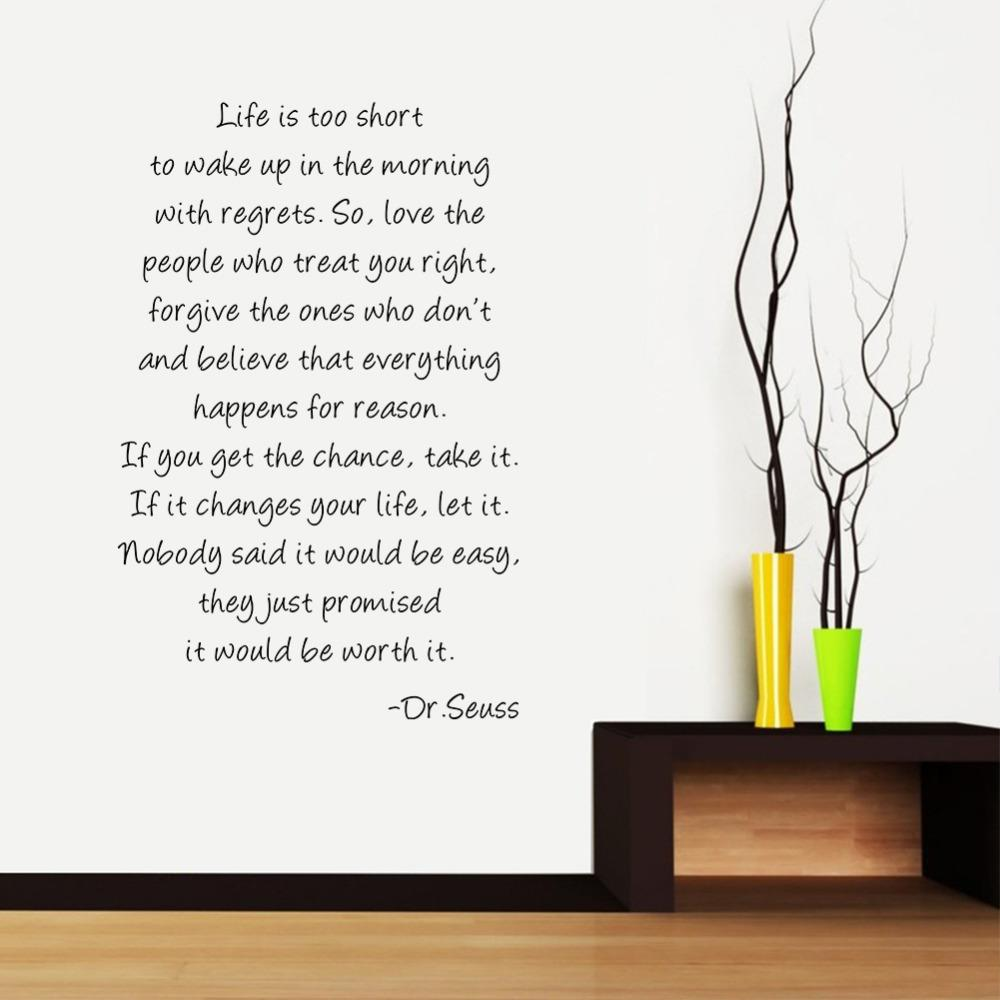 Large Size Dr Seuss Quotes Life is Too Short Inspirational Wall Quotes Art Vinyl Decal Stickers 8502 Decal Car Stickers Decal Wall Sticker Decal Laptop ...  sc 1 st  DHgate.com & Large Size Dr Seuss Quotes Life is Too Short Inspirational Wall ...