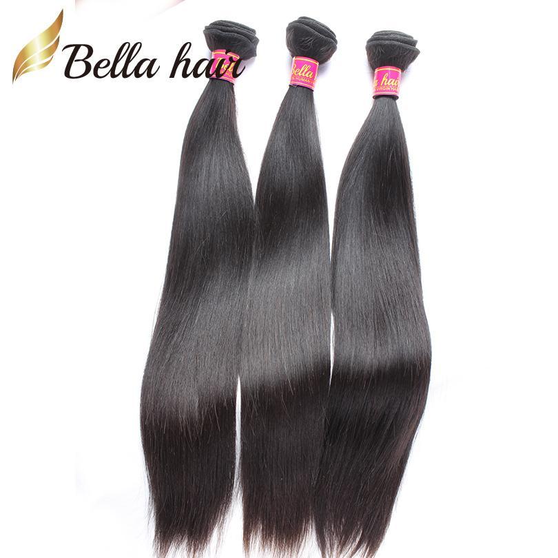 Paquetes de cabello virgen peruano recto con cierre 3 Parte 4x4 Cierre de encaje sin procesar Pelo humano Extensiones de trama Bellahair