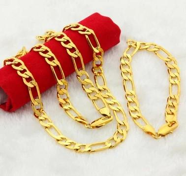 wonderful yellow gold filled men's set necklace bracelet (sp3658)