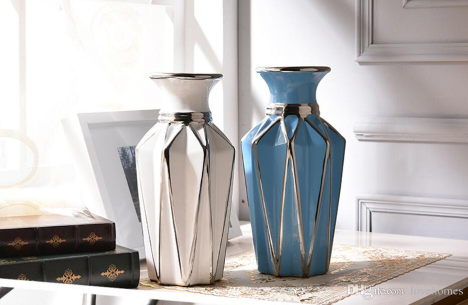 Modern Lucky Shape Ceramic Vase for Home Decor Tabletop this pirce is for a set vase and flowers together S02