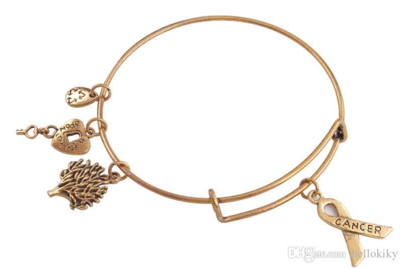 Fashion bangle bracelets Antiqued Gold Expandable Wire Bangles Karma love various word ect Charm Bracelet
