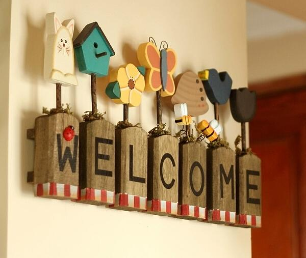 Wooden Words Welcome Wall Stickers Art Home Decoration Natural - Wall decals wood
