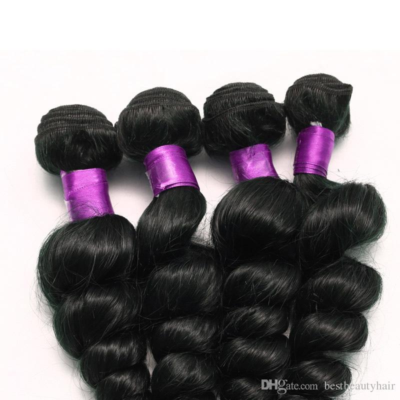 Brazilian Virgin Hair Loose Wave Natural Black Peruvian Malaysian Brazilian Hair Weave Bundles Top Hair Extensions Loose Wave Online