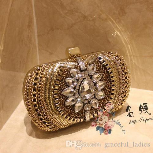 高級ビンテージクリスタルブライダルハンドバッグイブニングクラッチバッグの結婚式ハンドバッグデザイナーゴールドフォーマルパーティービーズ財布2015レッドカーペットハンドバッグ