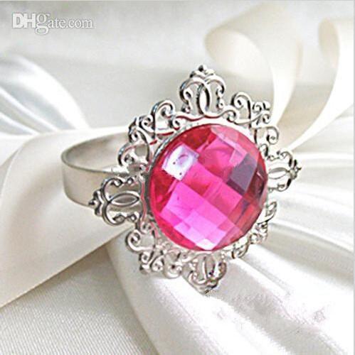 Silver Plated Burgundy Dark Red Vintage Style Napkin Rings Wedding Bridal Shower Napkin holder,Bling Acrlic Crystal Napkin Rings
