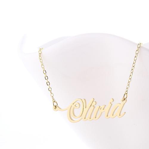 18k vergoldete Namenskette aus Edelstahl für Frauen personalisierte