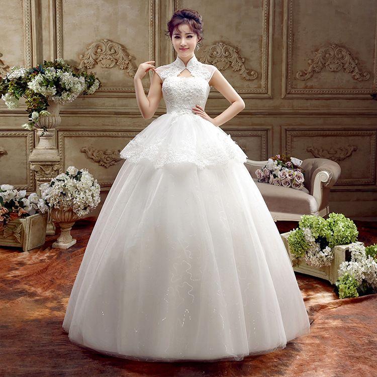 095 Customize Plus Size Wedding Dress 2017 Hot Sweetangel Custom Mandarin Collar