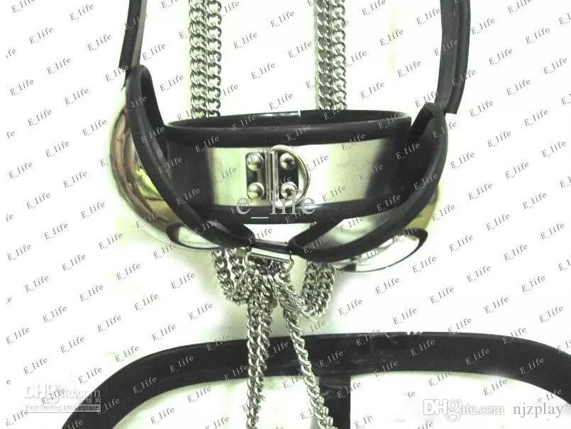New arrive! Male T-type Chastity Belt BDSM Chastity Device with Cock Cage Urethral/Collar/Handcuffs/Thigh Cuffs/Ankle Cuffs/Anal Plug/Bra
