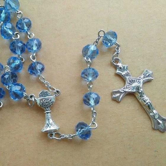 2016 New Religious Jewelry Fashion Catholic Pink Blue 6*8 MM Crystal Beads  Cross Rosary Necklace In Jewelry