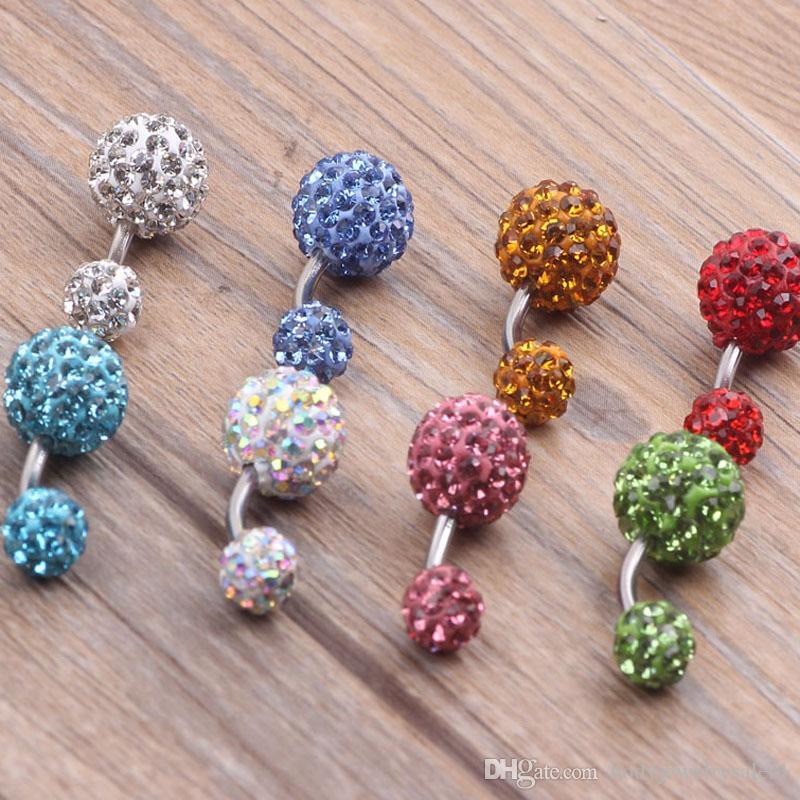 belly ring mix shamballa ball crystal piercing jewelry navel ring
