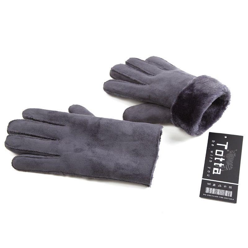 الشتاء الجزئي الجلد المدبوغ الرجال والنساء قفازات جلد فو مع أصابع الفراء قفازات جلد الاصطناعي الدفء مزيج الألوان بالجملة