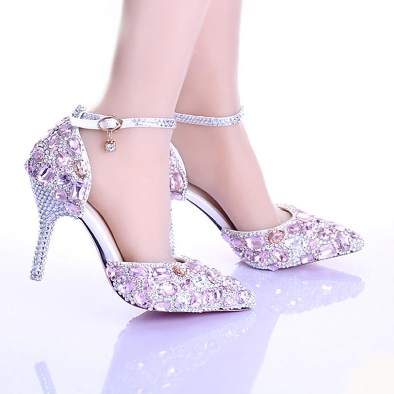 Summer New Arrival Pink Crystal Bridal Shoes Ankle Strap Pointed Toe Luxury Princess Wedding Shoes Women Party Prom Shoes