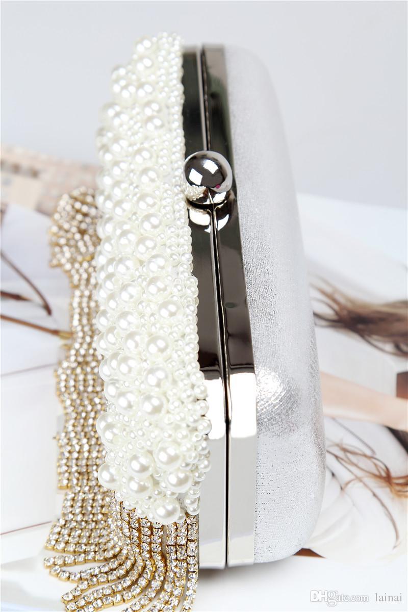 Usine marque de gros directe nouveau sac de soirée perles à la main diamant parfait avec satin / PU pour le mariage / banquet / fête / porm
