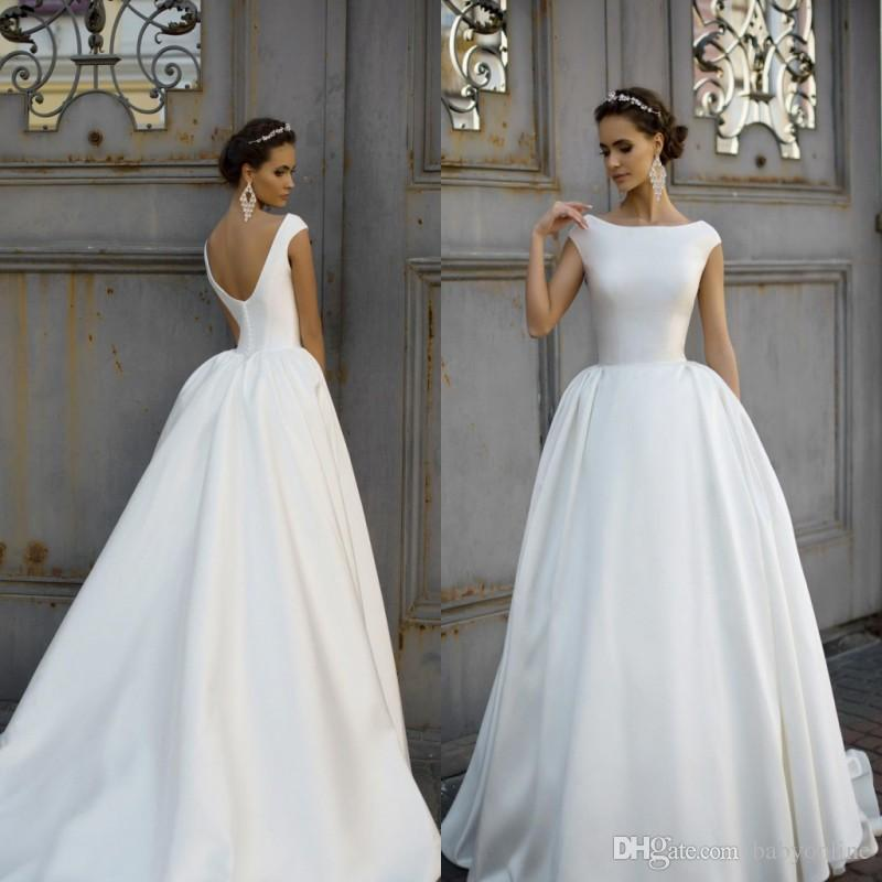 Discount 2018 Simple Style Wedding Dresses Capped Scoop Neck ...