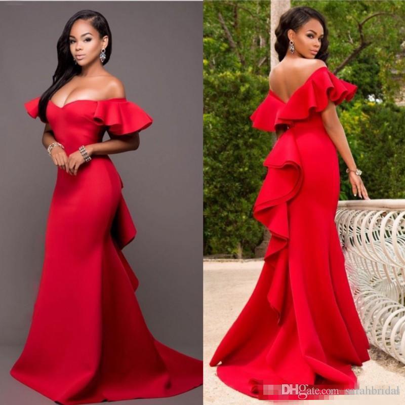 Wunderschöne rote Schulter-Prom-Kleider 2019 Satin Backless Mermaid Abendkleider Saudi-Arabien Ruhnierte Sweep-Zug Formale Partykleid