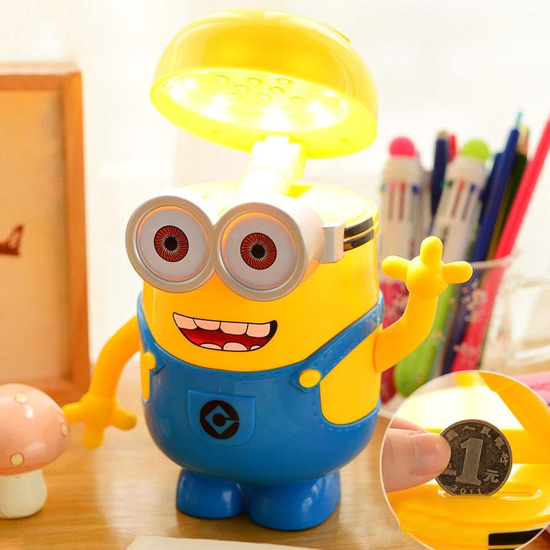 Cartoon Despicable Me Table Lamp LED Table Lamp Piggy Bank Decoration Cute  Minions Study Room Minions Saving Pot