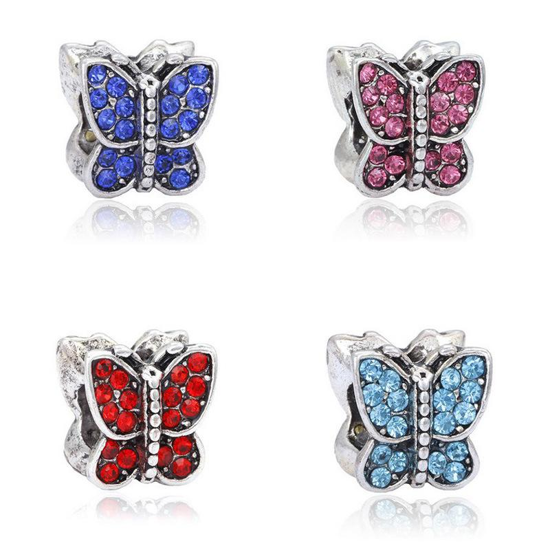 Newest loose space butterfly beads Charms Beads fit DIY Bracelets jewelry