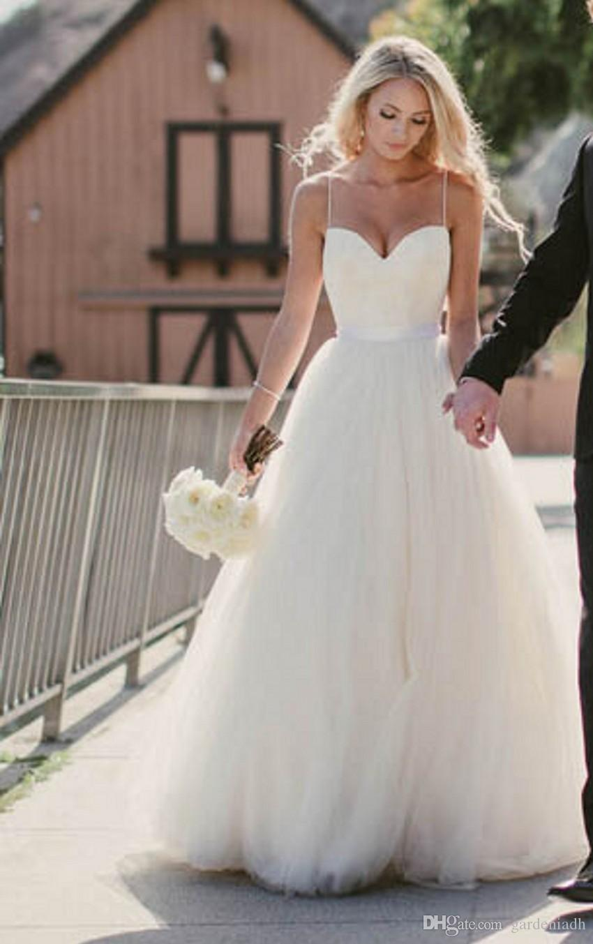 Discount Beach Wedding Dresses 2015 New Sweetheart With Lace Corset ...