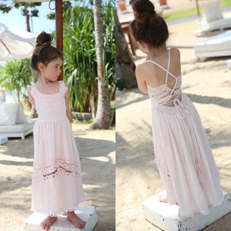 420897c728a 2018 Light Pink Chiffon Beach Boho Flower Girl Dresses For Weddings Cheap  Lace Criss Cross Back Ankle Length Kids Formal Dress EN112010 White And Red  Flower ...
