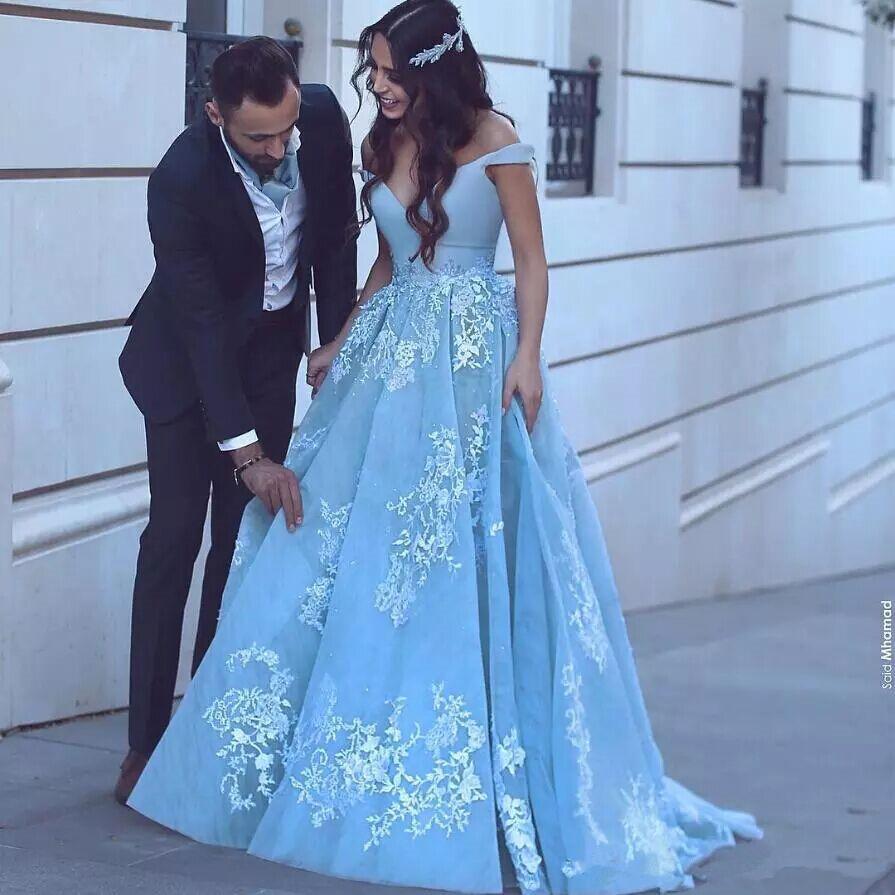 2018 Elegant Lace Evening Dresses Light Blue Off The Shoulder ...