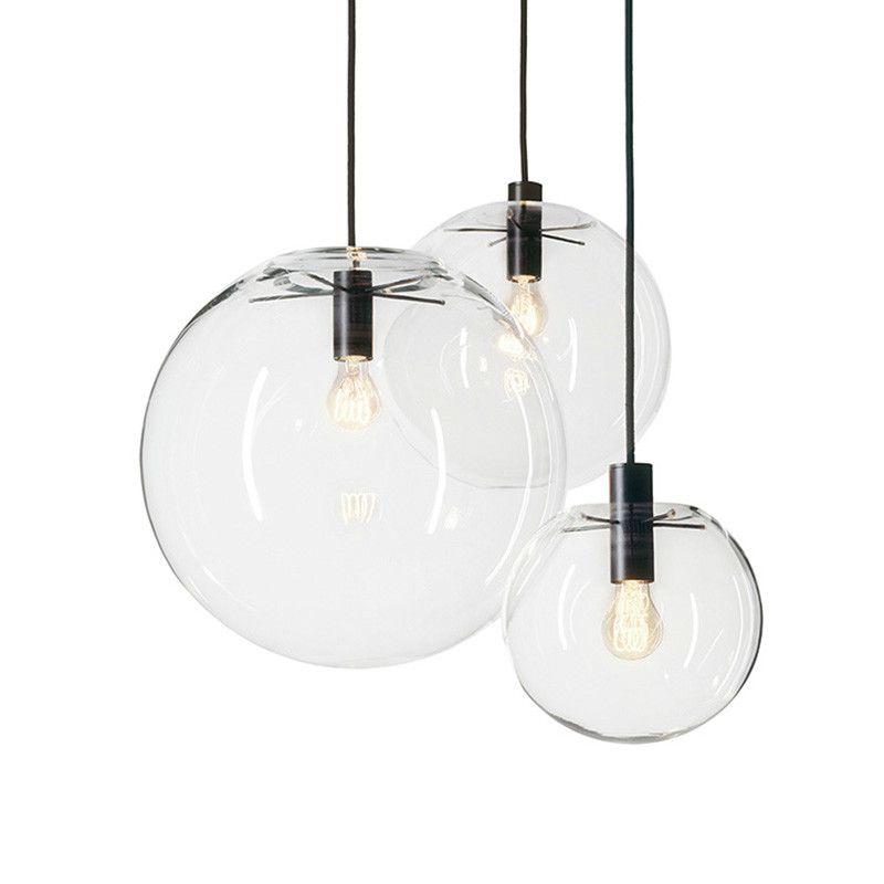 Nordic Pendant Lights Globe Chrome Lamp Glass Ball Pendant Lamp