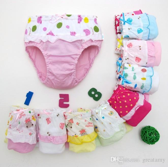 children panties bowknot cartoon kids lacework shorts underwear baby girls Briefs panties brief Kids Cute cotton Underpants