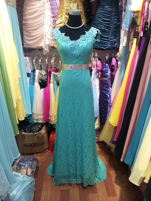 Long V Neck Evening dress 2016 Prom Dresses Wedding Party Gown V-neck crystal stones V-back Lace Evening Gowns Sky Blue Color