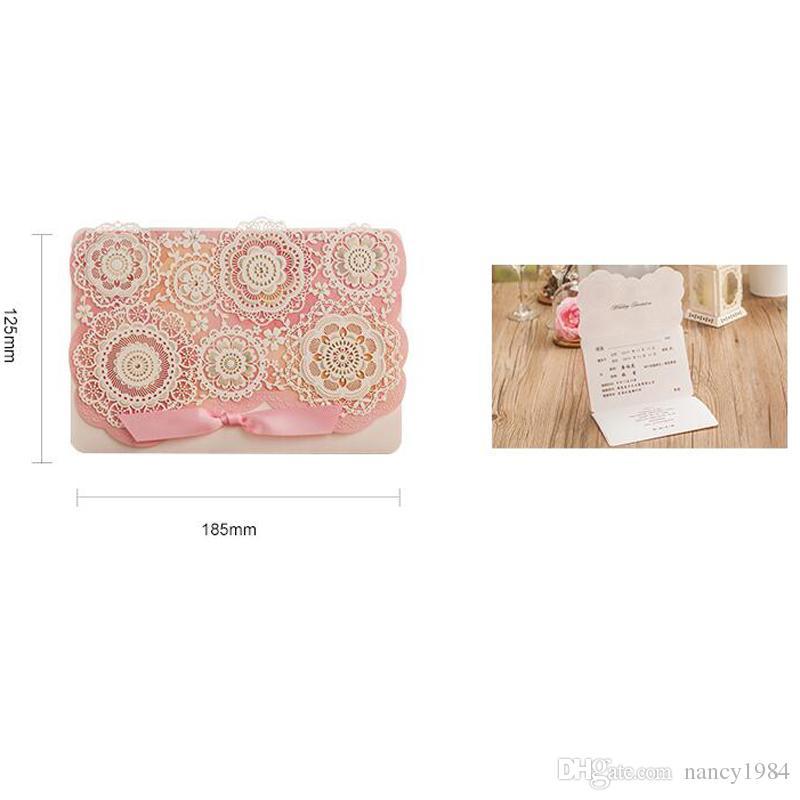 Invitación de láser Flor de envío libre de invitaciones de la boda del rosa Color Cortar boda del acontecimiento del partido Casamento Suministros CW5126