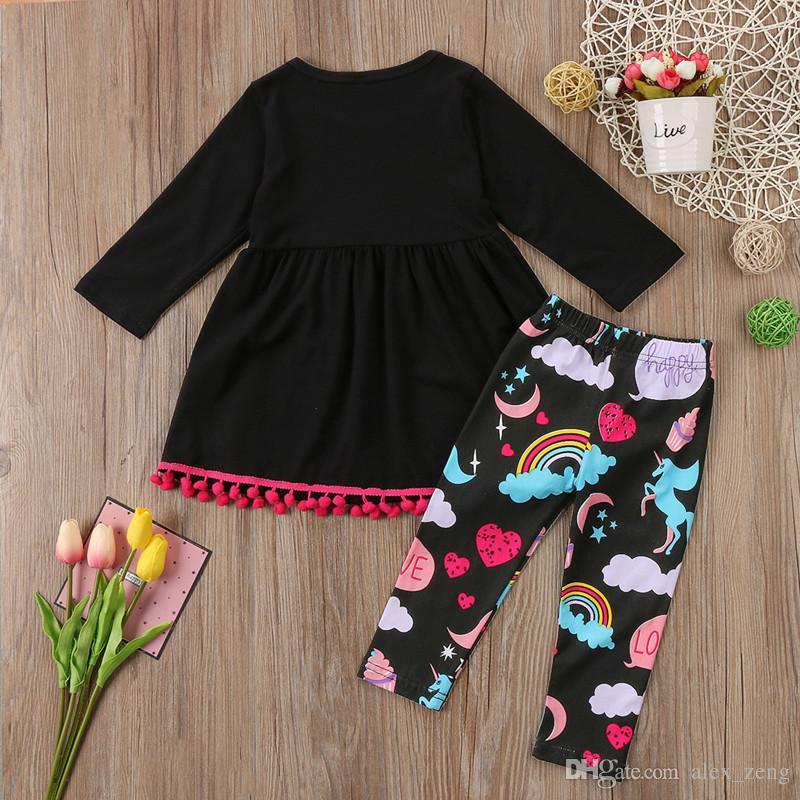 Baby-Einhorn-Sets Mädchen Quaste Kleider Langarm-Top + Einhorn Plakate Hosen Regenbogen Legging 2 Stück für Kinder Boutique Kleidung Outifits gesetzt