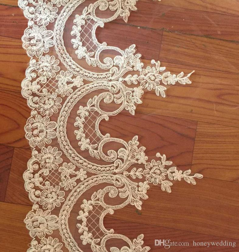 Real Sample Vintage 5m*3m Cathedral Length Long Wedding Veils Two Tiers Bridal Dresses Veil Lace Applique Tulle With Free Comb Custom Made