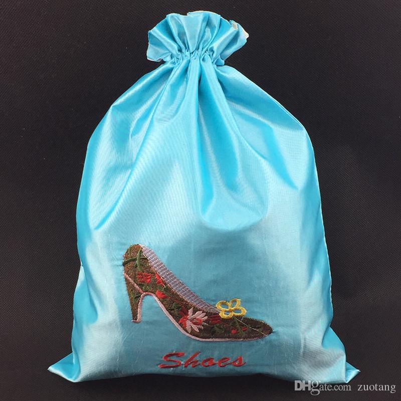 50шт Большой вышивки высокие каблуки обуви Мешочек Сумки для путешествий обуви сумка для хранения Портативный китайского шелка Drawstring женщин Сумки для обуви пыли с подкладкой