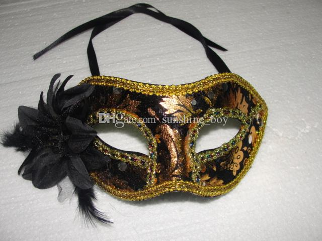 Hot sales Exquisite flathead Gold velvet Feather Flowers Mask Masquerade Lily Flower Princess Mask For Lady Mix Colors