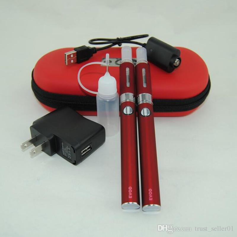 eGo Evod mt3 elektronische Zigarette Doppel Starter Kit MT3 Verdampfer Zerstäuber Clearomizer Tank Vape Ecigs Evod Batterie Doppel-Reißverschluss-Koffer-Kits